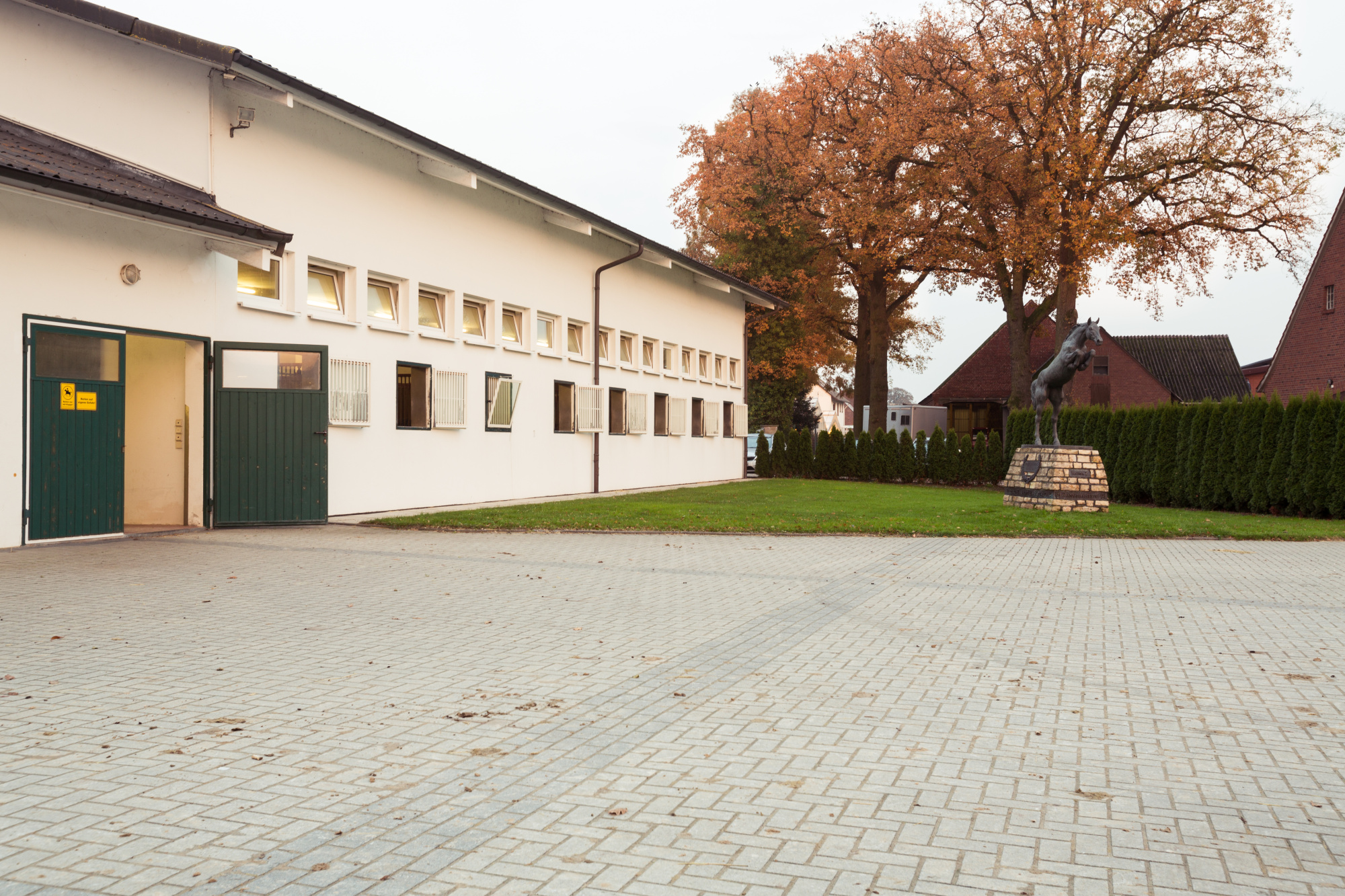 The facility has grown in the last two years. A new white stable block has been built in addition to a walker and a gigantic outdoor arena. To train fitness and stamina there is a long track for galloping on sand surrounded by birch trees and hedges.